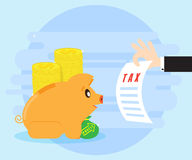 Pig piggy bank is sitting looking at tax return. Businessman hand holding sheet with taxes. Payment of taxes on profits Royalty Free Stock Images