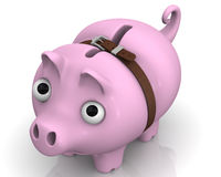 Pig piggy bank in times of economic crisis. Sad Pig piggy bank with tightened strap looks upwards. Financial concept Stock Image