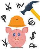 Pig piggy bank wish currency symbols. Pig piggy bank is protected by a helmet, and currency symbols. The concept of protection of financial assets, insurance Royalty Free Stock Photos