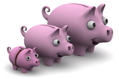 Pig piggy banks lined up in a row. Funny pig piggy banks ranked by growth on a white surface. The concept of the growth of financial savings. . 3D Illustration Stock Photo