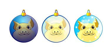 Pig, piggy, decor balls, new year, symbol 2019, 2019, new year tree decor, toy, yellow, funny, coloured, vector, illustration,. Pig, piggy, happy pig, new, new stock illustration