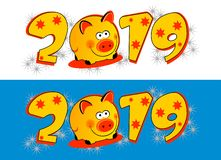 Lettering of date 2019 & pig. New year illustratio, vector. Colorful christmas ornamental design for backgrounds, postcards, posters, calendars, advertisement stock illustration