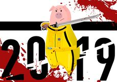 Pig. Piggy. Hog. Kung fu, karate kick. 2019 Chinese New Year symbol. Cartoon character isolated on white background. Colorful desi. Pig. Piggy. Hog. Kung fu royalty free illustration