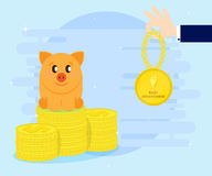 Pig piggybank awarded the medal as the best investment. Summing up, making a profit. Flat style, cartoon. Pig piggybank awarded the medal as the best investment Stock Image