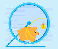 Pig piggybank running in a hamster wheel for coin bait. Business concept. Flat style, cartoon. Pig piggybank running in a hamster wheel for coin bait. Business Royalty Free Stock Photos