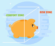 Pig piggybank takes the first step to quit the comfort zone in the risk zone. Flat style, cartoon. Pig piggybank takes the first step to quit the comfort zone in Stock Image