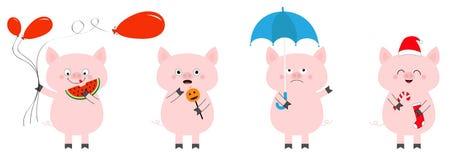 Pig piglet set. Balloon, watermelon, pumpkin halloween, umbrella, sock candy cane, Christmas Santa hat. Cute funny cartoon animal royalty free illustration