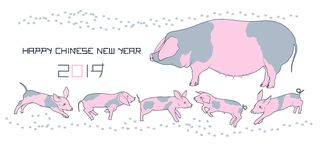 Pig and piglets family chinese new year gift card. Pig and piglets family. Happy chinese new 2019 year gift card. Big spotted sow and funny baby piggies