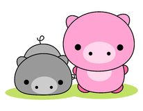 Pig / pigs. Colorful pig couple isolated on white background Stock Photography