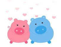 Pig / pigs. Colorful pig couple isolated on hearts background Royalty Free Stock Photos