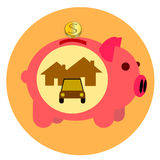 Pig pink bank gold coin Royalty Free Stock Images