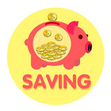Pig pink bank gold coin Stock Image
