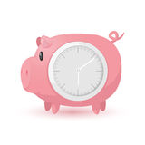 Pig Pink Clock Symbol Icon Royalty Free Stock Images