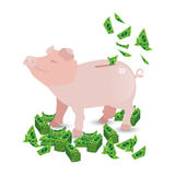 Pig pink money piggy bank with my packs of paper royalty free illustration