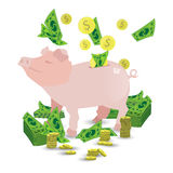 Pig pink piggy bank with a pile of gold coins royalty free illustration