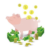 A pig of a pink piggy bank with a pile of gold coins Royalty Free Stock Photo