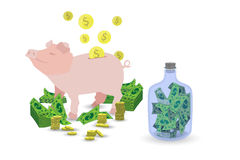 Pig pink piggy bank with a stack of gold coins Royalty Free Stock Images
