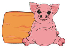 Pig and plate Royalty Free Stock Photo