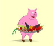 Pig cartoon. Illustration of pig offering  a plate with vegetables instead of himself in vector format Royalty Free Stock Images