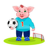 Pig play a football. stock illustration