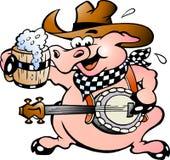 Pig playing banjo royalty free illustration