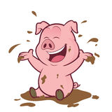 Pig playing in the mud Stock Photo