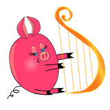 Pig playing musical instrument. isolated character Stock Photos