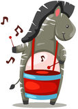 Pig playing violin. Illustration of isolated zebra playing drum on white Stock Images