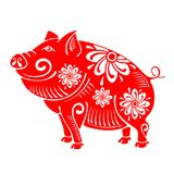 Pig, plump and cheerful Royalty Free Stock Photography