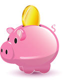 Pig Pocket Money Coin Cartoon Stock Images