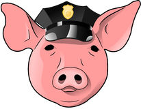 Pig with Police Hat Stock Photo