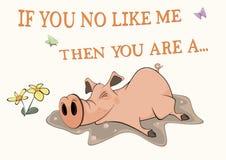 Pig and a pool. Postcard. Cartoon Stock Photo
