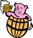 pig pork in barrel with beer Royalty Free Stock Images