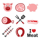 Pig, pork meat - pink ham and bacon icons set Stock Photo