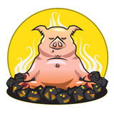 BBQ and grill illustration - The pork - yoga on a. BBQ and grill illustration - The pork - yoga is smoking on the hot coals