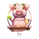 Pig with positive emotions holding soap and sponge digital art. Isolated icon of swine sitting in dirt, wearing plants royalty free illustration