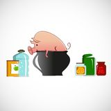 Pig in a pot on light background Royalty Free Stock Image