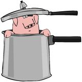 Pig In A Pressure Cooker. This illustration depicts a pig peeking out of a pressure cooker Royalty Free Stock Image