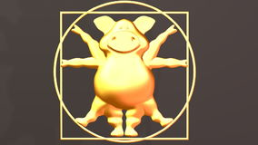 Pig Proportions - Vitruvius animal. Gold.