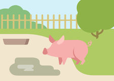 Pig puddle mud flat design cartoon vector farm animals. Pig farm courtyard puddle of mud flat design cartoon vector animals. Flat zoo nature children collection Royalty Free Stock Photography