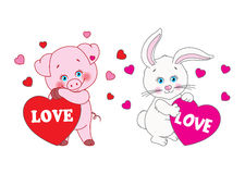Pig and rabbit holding a heart Vector characters Royalty Free Stock Images