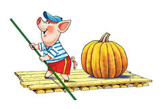 Pig on a raft. Fabulous pig with a pumpkin floating on a raft with a pole Stock Image