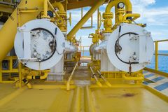 Pig reciever at oil and gas wellhead remote platform for internal cleaning and inspection to protect corrode inside sea line pipe.  Stock Images