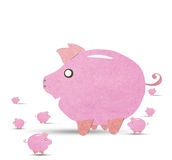 Pig   recycled paper stick. Royalty Free Stock Photography
