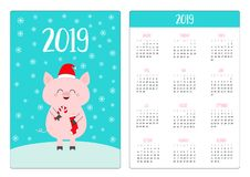 Pig in red Santa hat, holding candy cane, sock. Pocket calendar layout 2019 new year. Week starts Sunday. Cute cartoon character. royalty free illustration