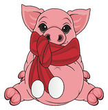 Pig in red scarf Royalty Free Stock Photography