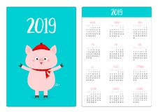 Pig in red winter hat and scarf. Simple pocket calendar layout 2019 new year. Week starts Sunday. Cute cartoon character. Vertical vector illustration