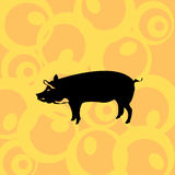 Pig on retro background. Vector image illustration of a stylized pig silhouette on a retro background Royalty Free Stock Images