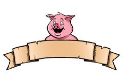 Pig with ribbon banner Stock Photography