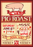 Pig roast poster. Barbecue party design, bbq barbecue poster Royalty Free Stock Image
